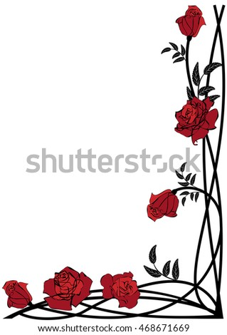 vector floral border roses corner design stock vector