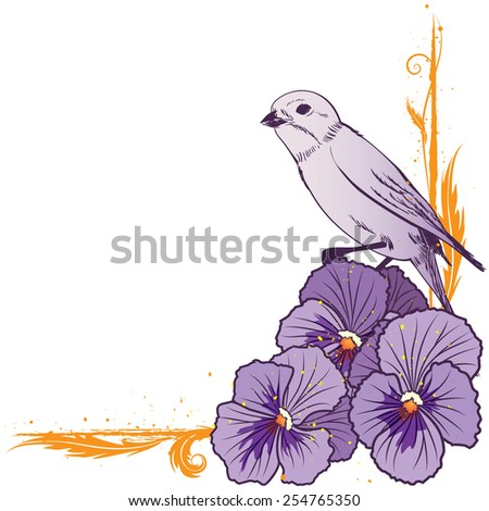 vector floral  border with violet pansies and bird (EPS 10) - stock vector