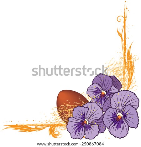 vector floral  border with violet pansies and egg (EPS 10) - stock vector