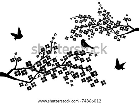 vector floral branches with birds - stock vector