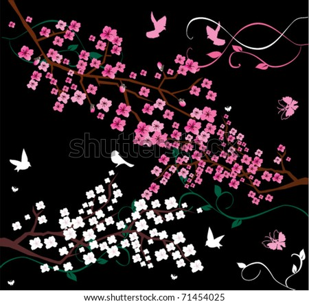 vector floral branches with birds and butterflies - stock vector