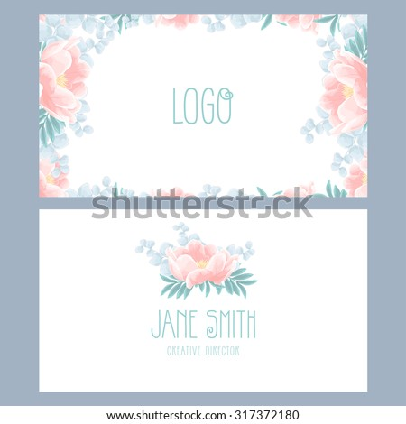 Vector floral business card template with beautiful peonies - stock vector
