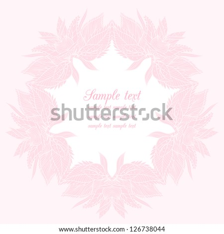Vector floral card with pink flower.