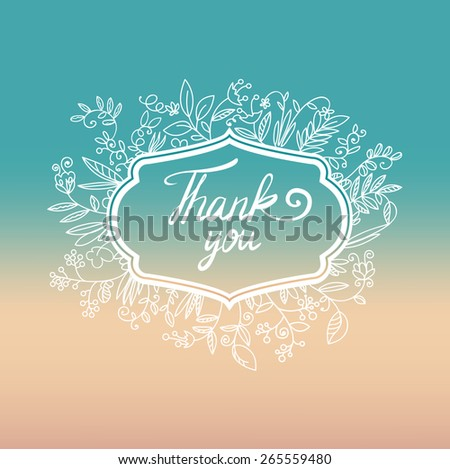 Vector floral card with wreath from flowers, leaves, frame and text thank you.Three stylish floral banners. Bright romantic cartoon cards in vector - stock vector
