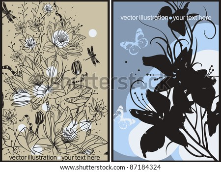 vector floral cards with blooming flowers and flying butterflies - stock vector