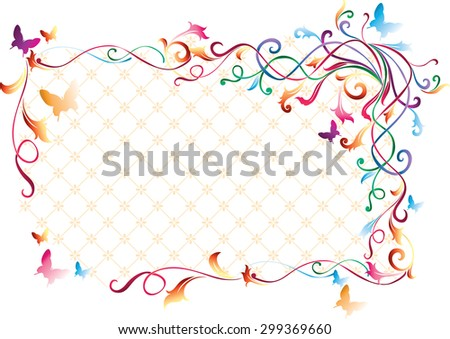 Vector floral color frame - stock vector