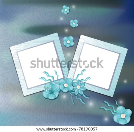 vector floral congratulatory background with a two frame - stock vector