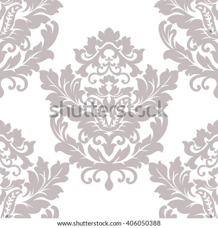 Vector floral damask pattern background. Luxury classic floral damask ornament, royal Victorian vintage texture for wallpapers, textile, fabric. Taupe color Floral element - stock vector