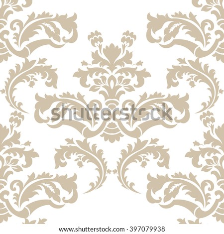 Vector floral damask pattern background. Royal Victorian texture. Classical luxury vintage damask ornament for wallpapers, textile, fabric, wrapping. Delicate floral baroque template. Beige color - stock vector
