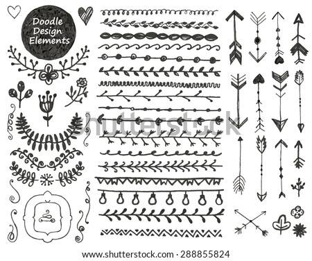 vector floral decor set, collection of hand drawn doodle frames, dividers, borders, arrows design elements. Isolated. May be used for wedding invitations, birthday cards, banners or any design - stock vector