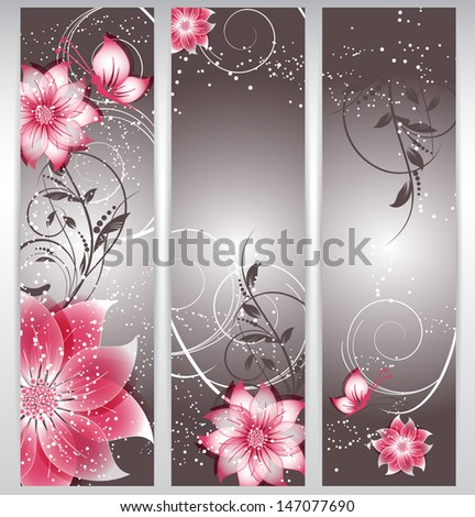 vector floral decorative banner. abstract background with butterfly - stock vector