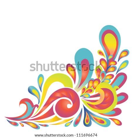 Vector floral design. Colorful vignette - stock vector