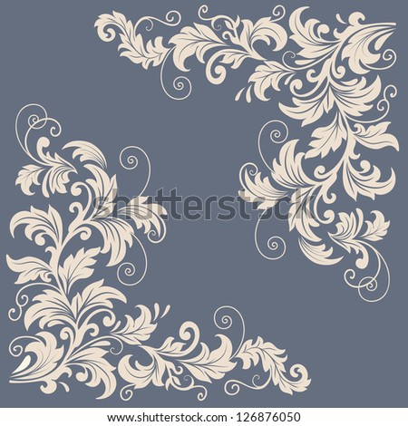 Vector floral design elements for page decoration - stock vector
