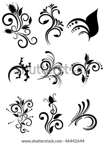 Vector floral element for design, set ornaments - stock vector