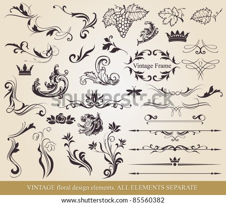 Vector floral elements and page decoration - lots of useful elements - stock vector
