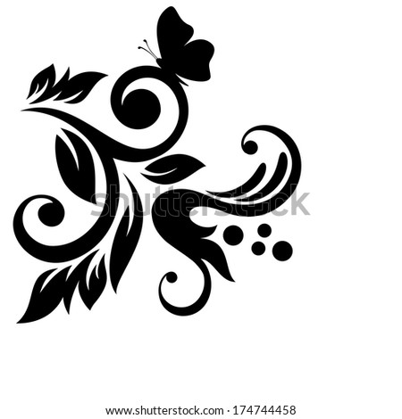 Vector floral elements for design with butterfly