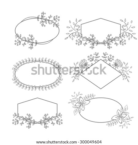 Vector Floral Frame Collection. Set of doodle hand drawn labels with flowers for wedding invitations, save the date and birthday cards. Oval, diamond and polygon shaped elements - stock vector