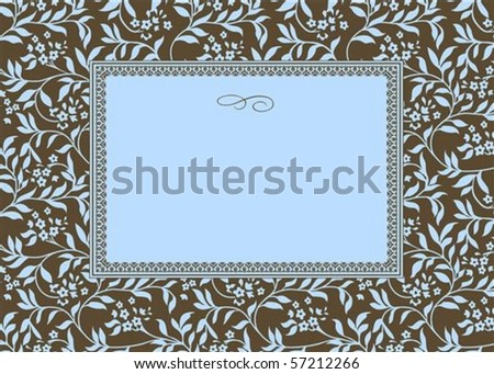 Vector floral frame. Easy to scale and edit. Pattern is included as seamless swatch - stock vector