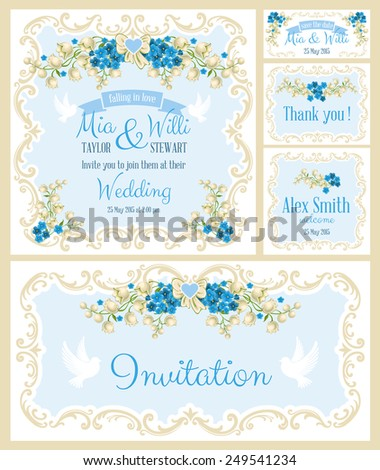 Vector Floral Frame Set for invitations or announcements. Easy to edit.  - stock vector