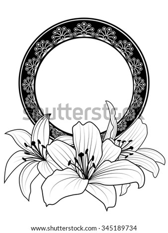 vector floral frame with flowers of lily in black and white colors - stock vector
