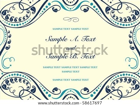 Vector floral frame with sample text. Perfect as invitation or announcement. All pieces are separate. Easy to change colors. - stock vector