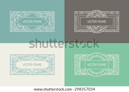 Vector floral frames in mono line style with copy space for text - logo design template - stock vector