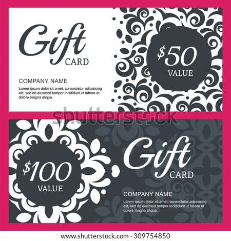 Vector floral gift voucher or card background template. Vintage decorative black and white illustration. Concept for boutique, jewelry, floral shop, fashion, beauty salon, spa, flyer, banner design. - stock vector
