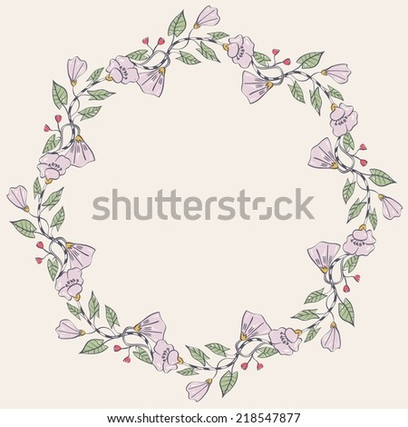 Vector floral greeting card with  florals.  Realistic plants.