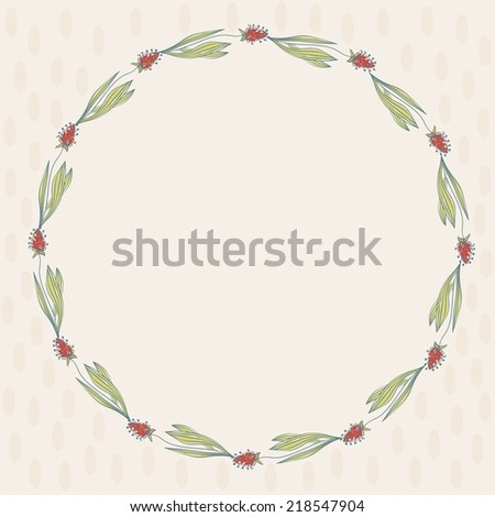 Vector floral greeting card with  florals.  Realistic plants. - stock vector