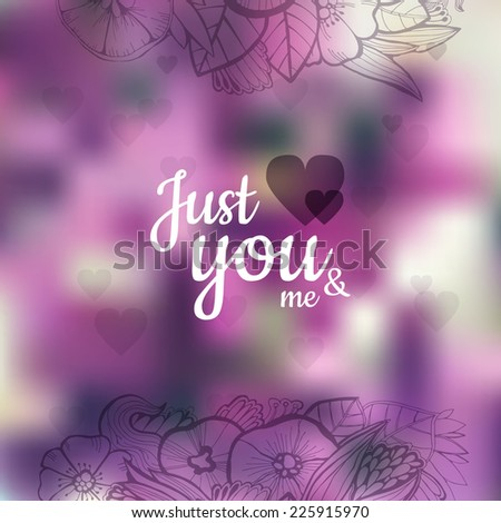 Vector floral greeting card just you stock photo photo vector vector floral greeting card with just you and me lettering valentines day card m4hsunfo Images