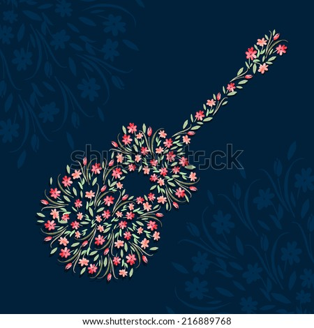 vector floral  guitar illustration. It can be used for poster, card, cover, wallpaper - stock vector