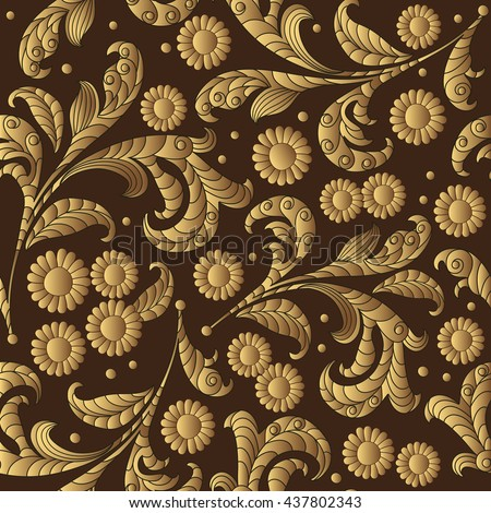 Vector floral hand drawn floral gold pattern, pattern can be used for wallpaper, pattern fills, surface textures