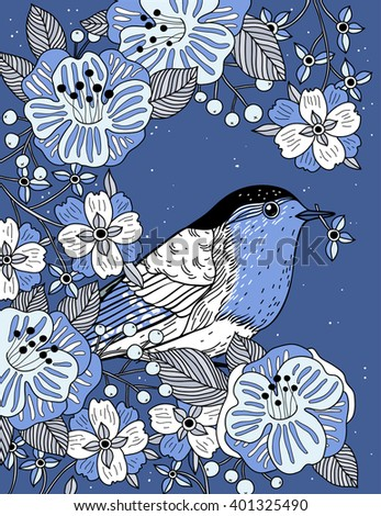 vector floral illustration of a bird and abstract blooms on a blue background