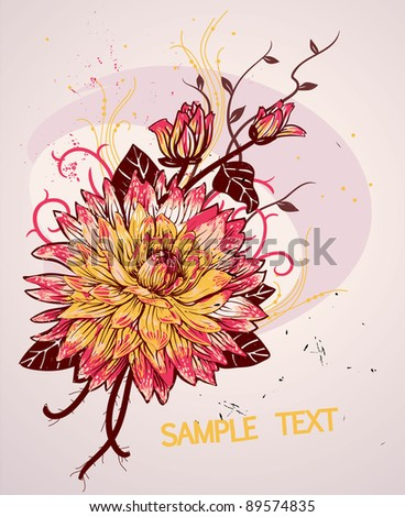 vector floral illustration of a blooming flower - stock vector