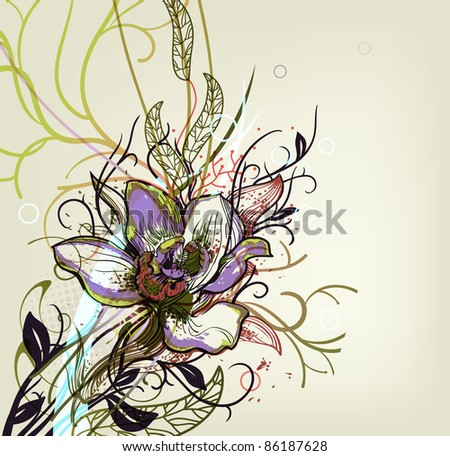 vector floral illustration of a blooming orchid and fantasy plants. eps10 - stock vector