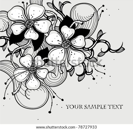 vector floral illustration of abstract flowers - stock vector
