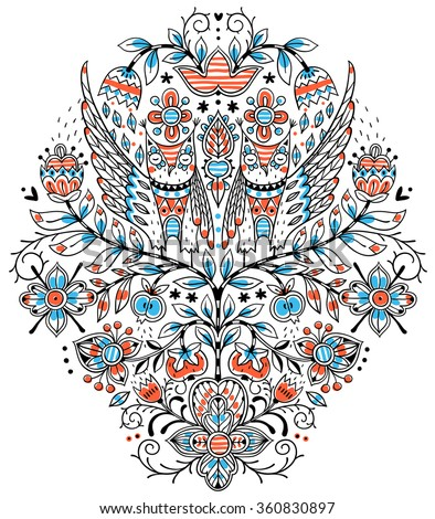 vector floral  illustration of an abstract colorful tree and funny owls