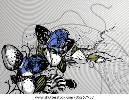 vector floral illustration of blooming blue  orchids on an abstract background - stock vector