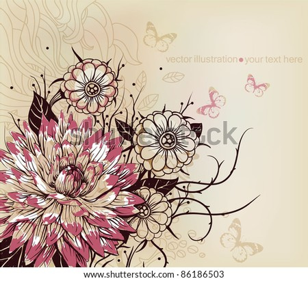 vector floral illustration of blooming flowers - stock vector