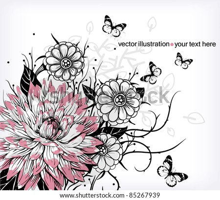 vector floral illustration of blooming flowers and flying butterflies - stock vector