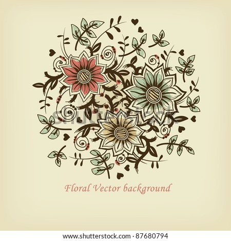 vector floral illustration of decorative blooming flowers - stock vector