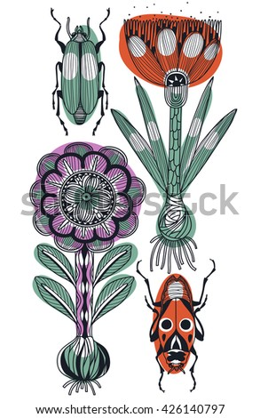 vector floral illustration of hand drawn plants and bugs