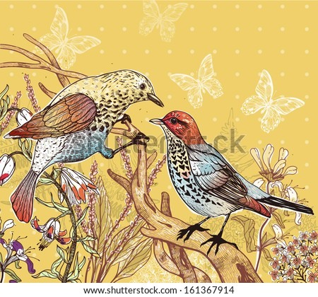 vector floral illustration of two forest birds and blooming flowers - stock vector