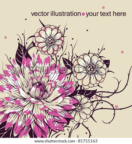 vector floral illustration with  blooming flowers - stock vector
