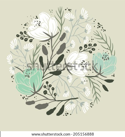 vector floral illustration with blooming poppies and plants - stock vector