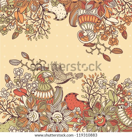 vector floral illustration with colored hand drawn flowers