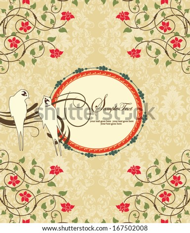 vector floral illustration with frame and birds - stock vector