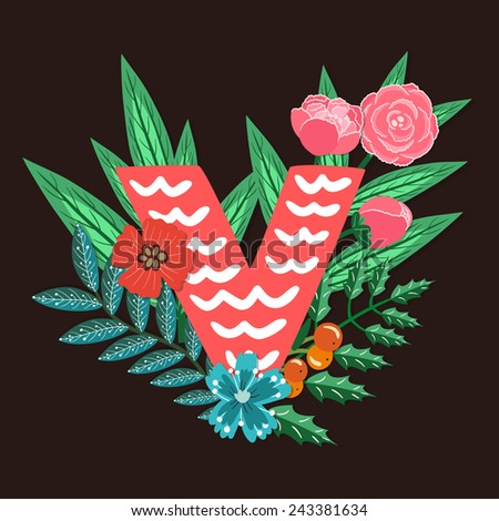 Vector floral letter made from leaves, branches, berries and flowers. Bright botanical alphabet. Vintage hand drawing character. Letter V. - stock vector