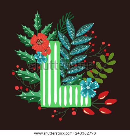 Vector floral letter made from leaves, branches, berries and flowers. Bright botanical alphabet. Vintage hand drawing character. Letter L. - stock vector