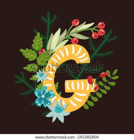 Vector floral letter made from leaves, branches, berries and flowers. Bright botanical alphabet. Vintage hand drawing character. Letter G. - stock vector